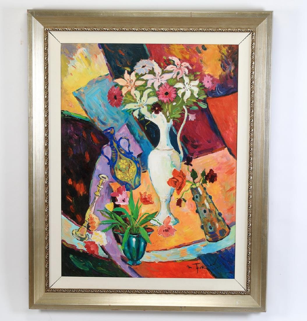 "Mark Furman signed acrylic/ canvas still life, 60""h"