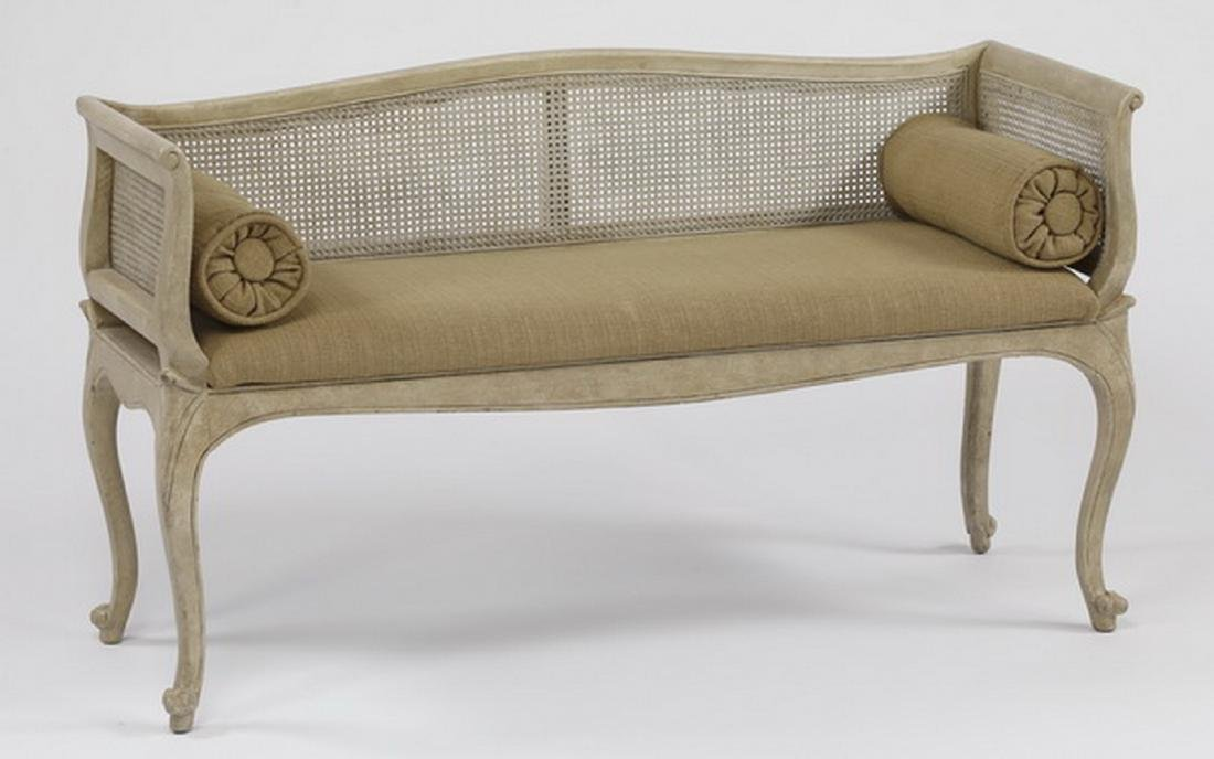 French Provincial style cane back settee w/ pillows - 2