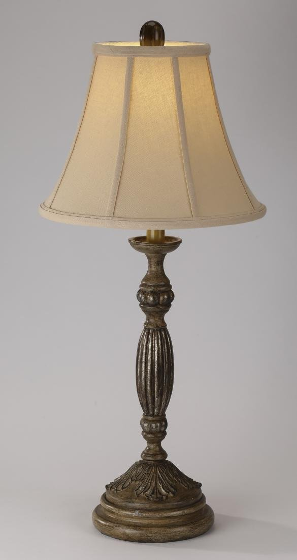 Contemporary carved wood table lamp