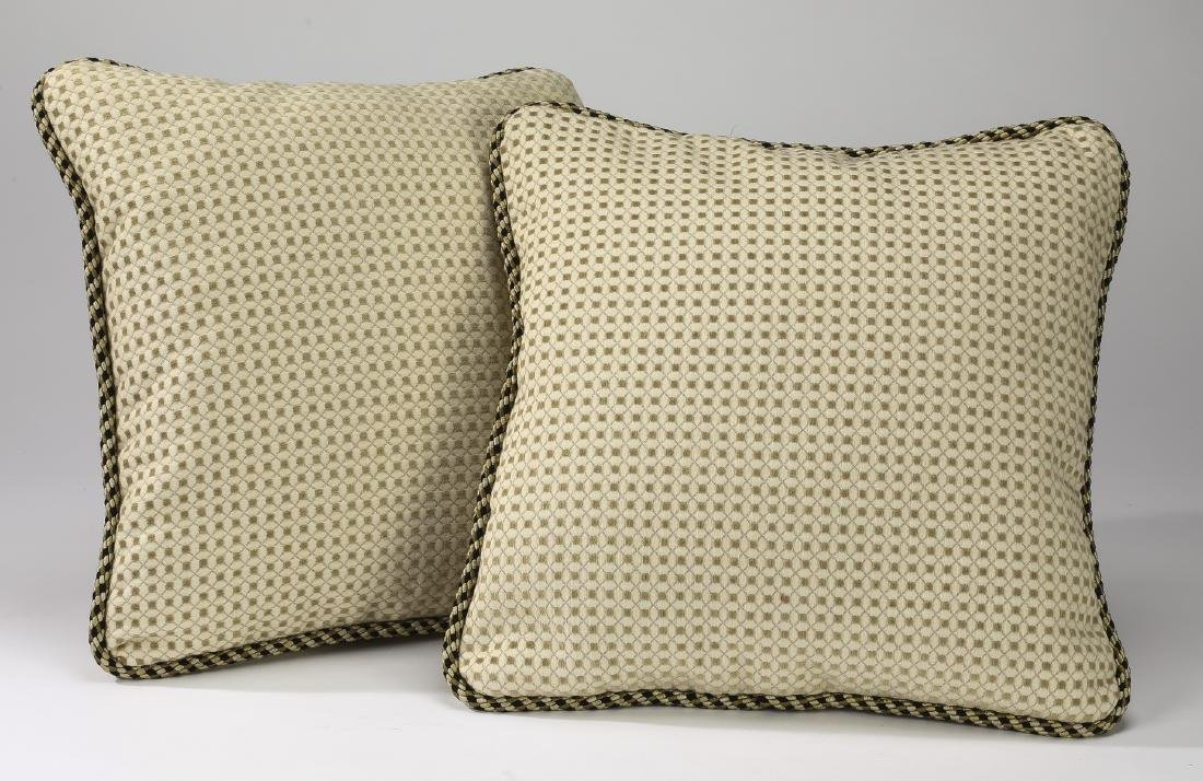"(2) Accent pillows in textured silk, 17""sq"