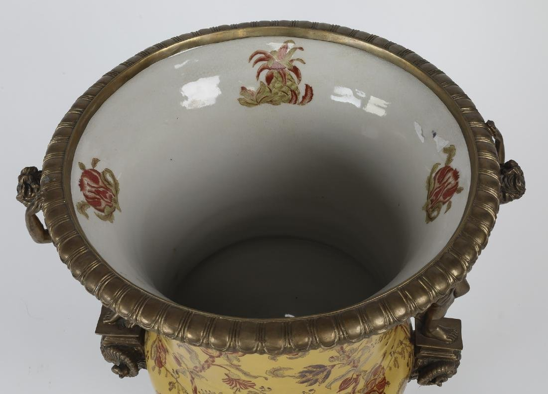 Porcelain & bronze Neoclassical style handled urn - 2