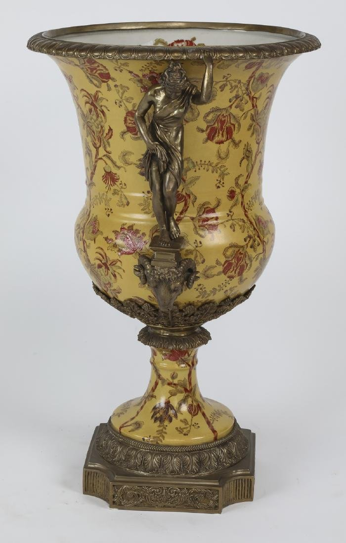 Porcelain & bronze Neoclassical style handled urn - 3