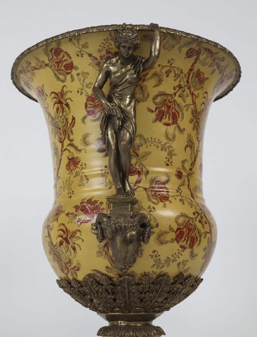Porcelain & bronze Neoclassical style handled urn - 4