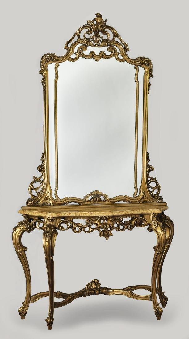 19th c. Italian marble top console w/ mirror