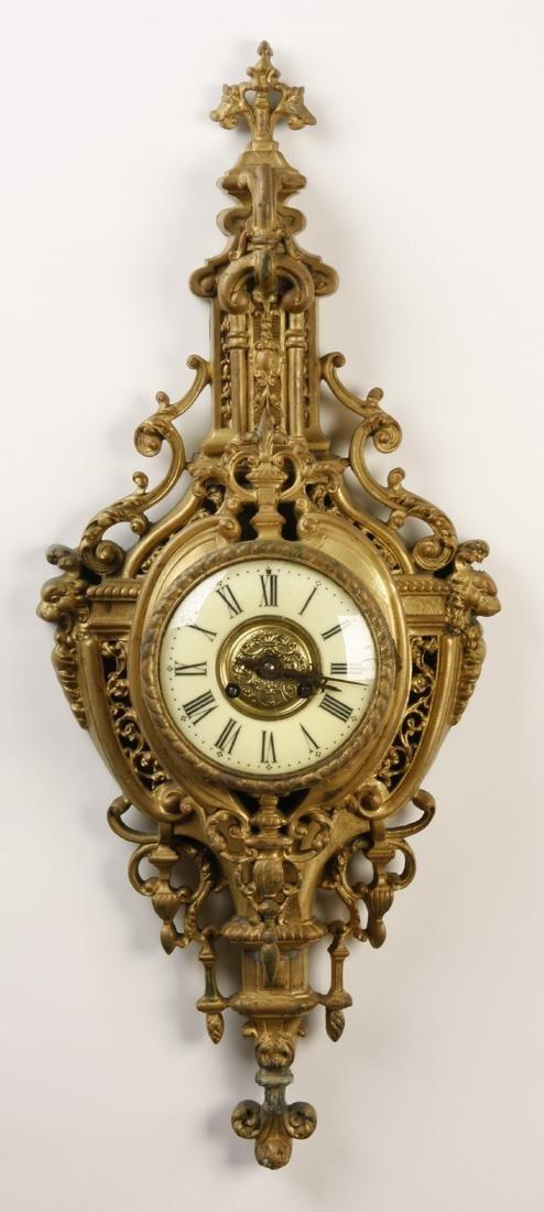 "19th c. French gilt bronze cartel clock, 30""h"