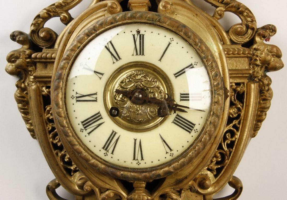 "19th c. French gilt bronze cartel clock, 30""h - 3"