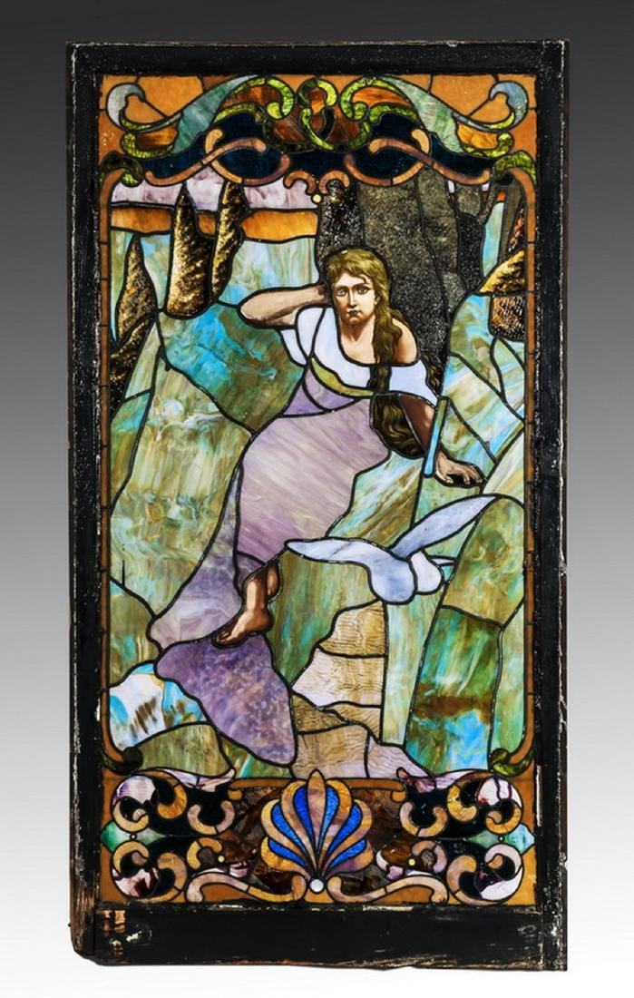 "19th c.stained glass window, framed, 66""h"