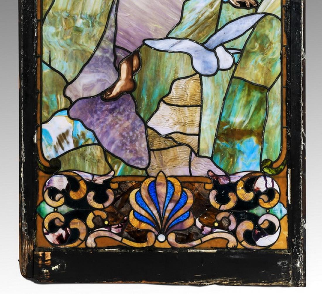 "19th c.stained glass window, framed, 66""h - 3"