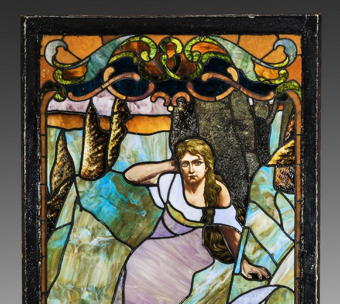 "19th c.stained glass window, framed, 66""h - 4"