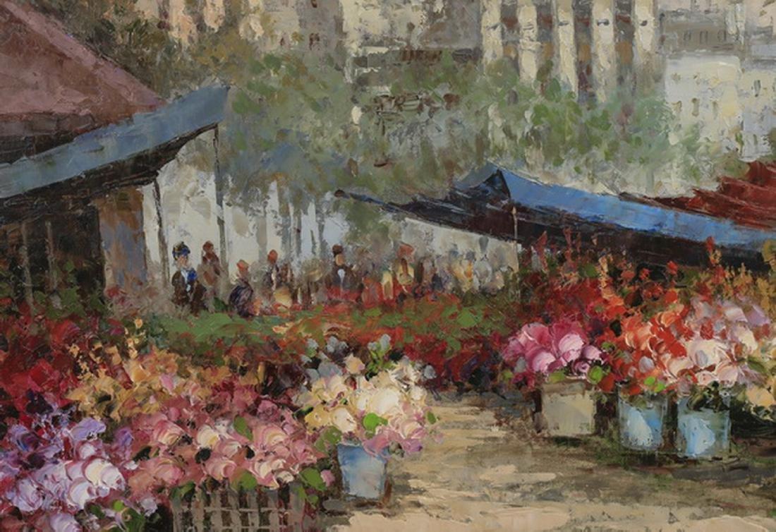 20th c. O/c of Parisian flower market, signed - 2