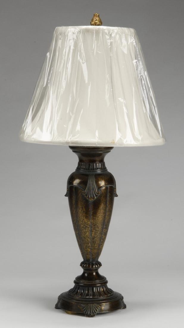 """Patinated metal table lamp, 28""""h"""
