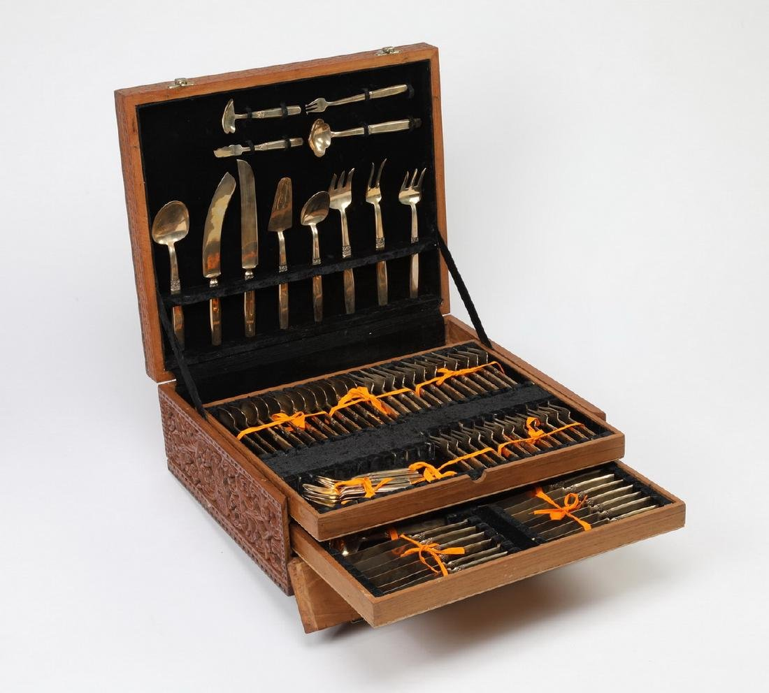 98 Pc. Thai bronze cutlery in elaborately carved case - 2