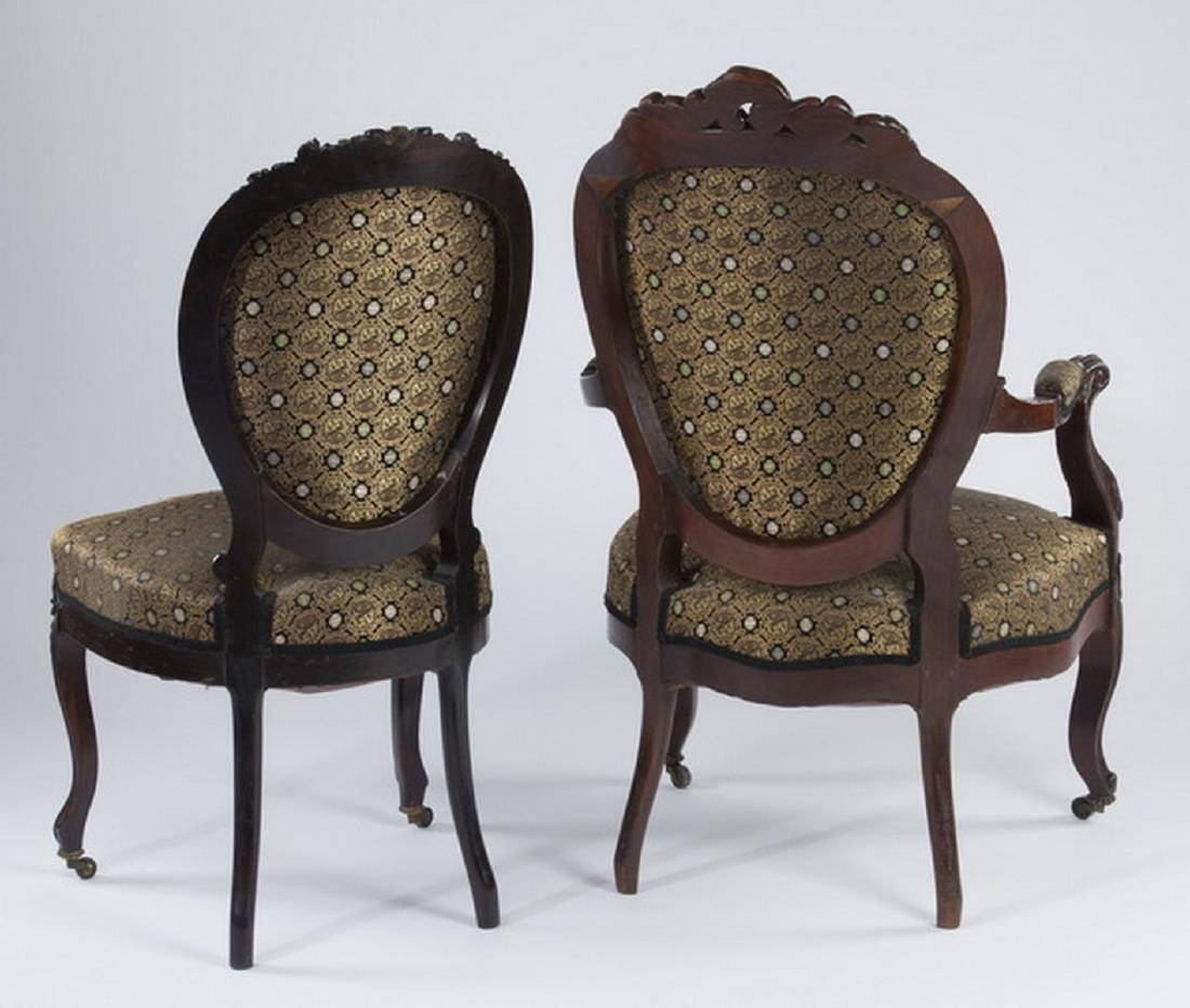(2) Victorian chairs upholstered in silk - 2