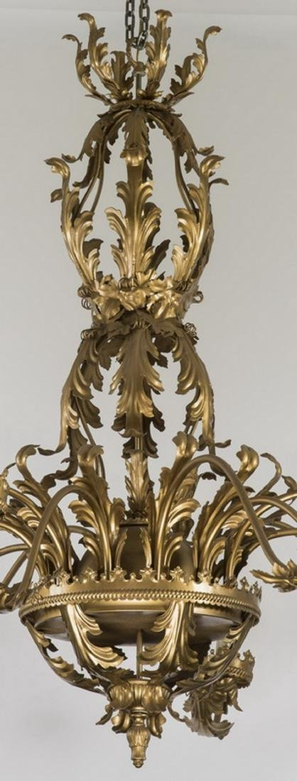 """19th c. 12-arm French tole chandelier, 77""""w - 2"""