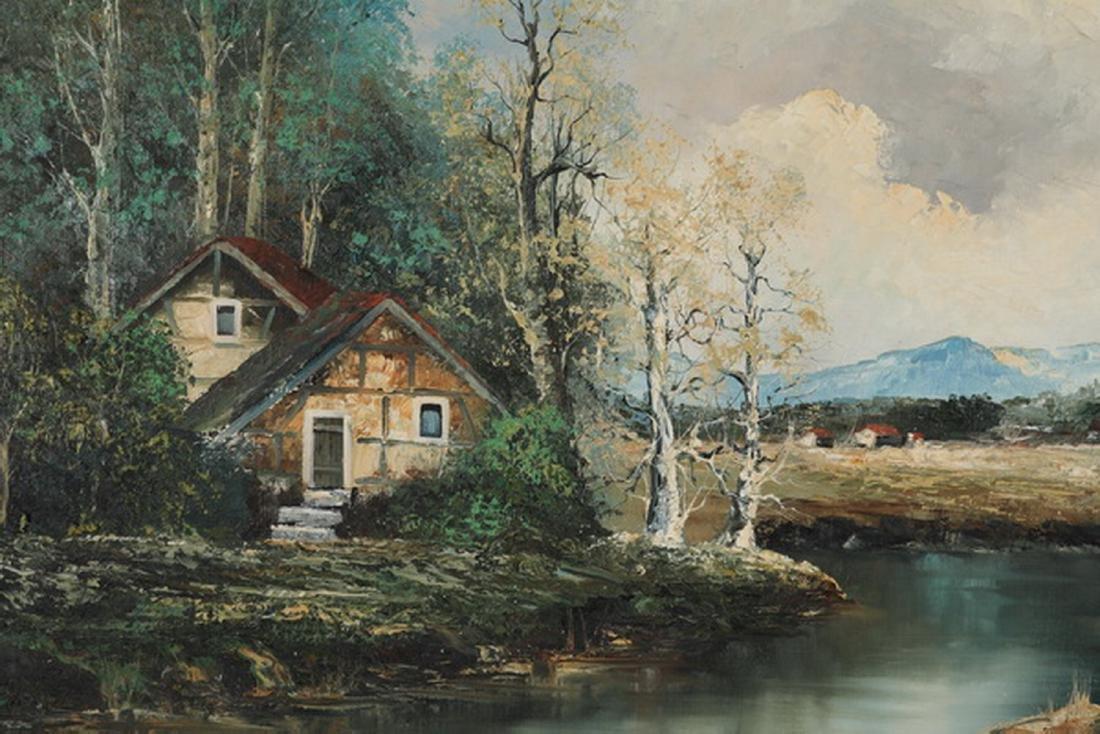 Oscar Sormani signed O/c of lake house w/ birch trees - 2