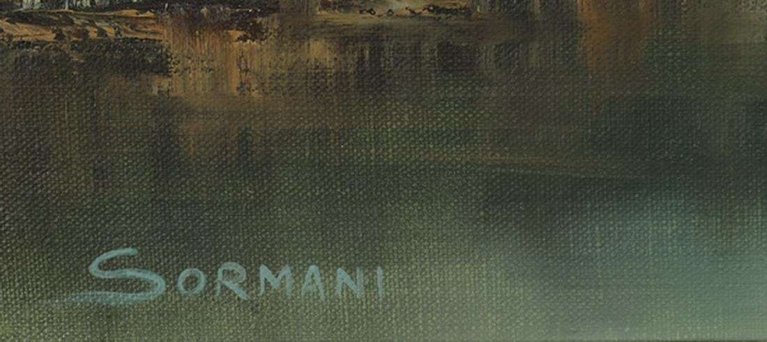 Oscar Sormani signed O/c of lake house w/ birch trees - 3