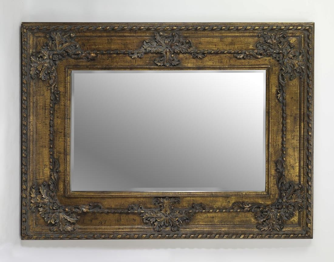 """French inspired gilded beveled mirror, 72""""w"""