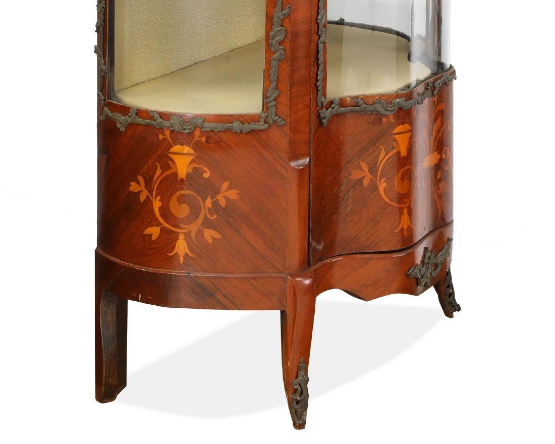 Early 20th c. French serpentine marquetry vitrine - 4
