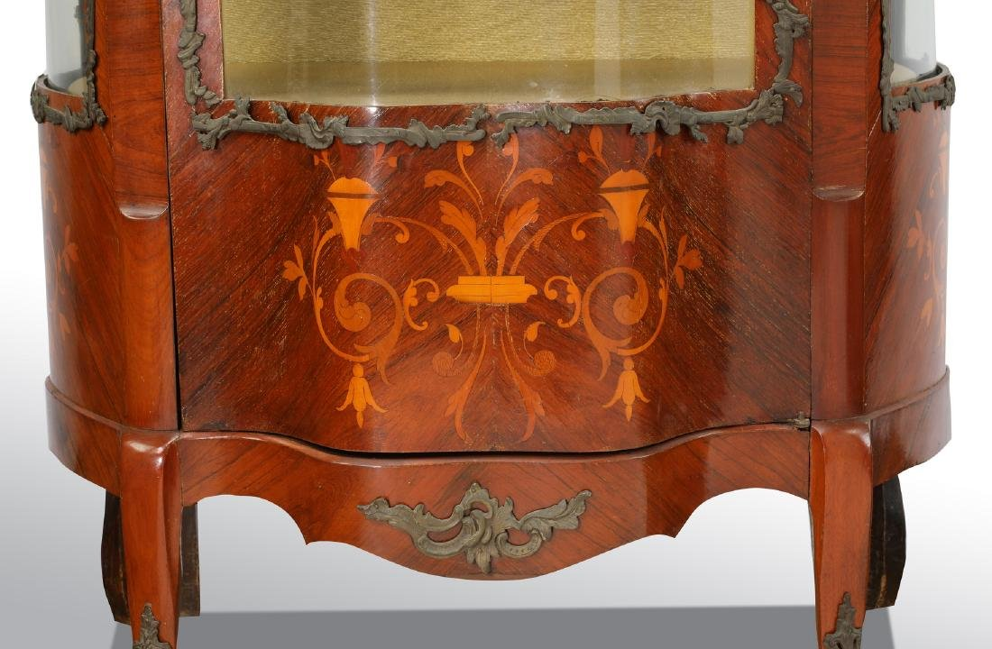 Early 20th c. French serpentine marquetry vitrine - 5