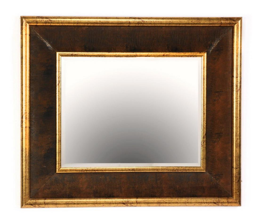 Contemporary parcel gilt and faux leather mirror