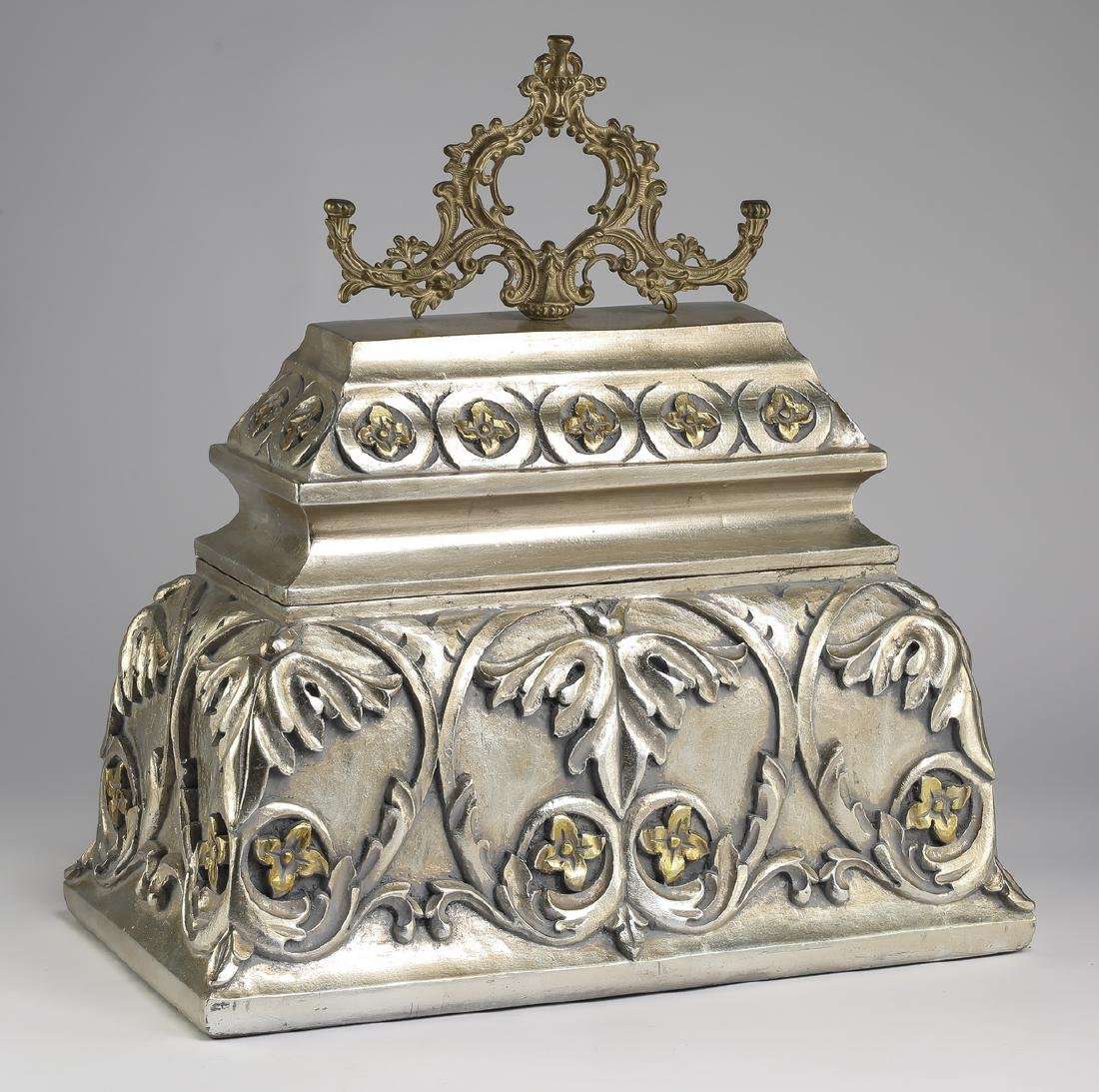 """French inspired silver accented carved box, 20""""h"""
