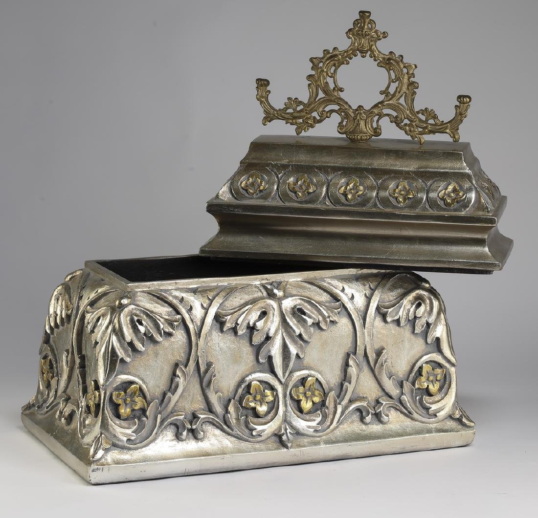 """French inspired silver accented carved box, 20""""h - 2"""