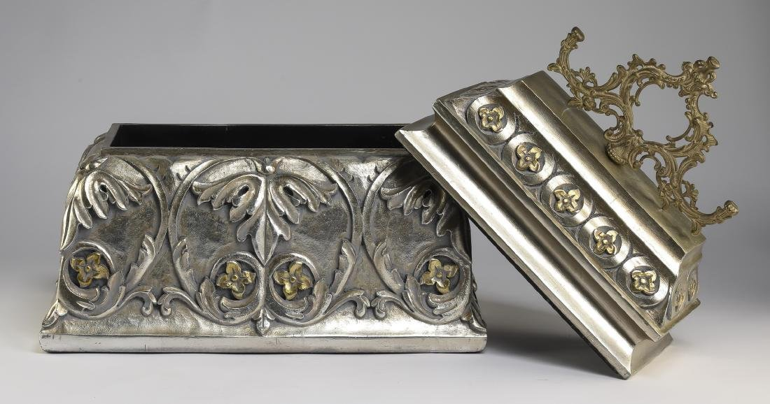 """French inspired silver accented carved box, 20""""h - 3"""