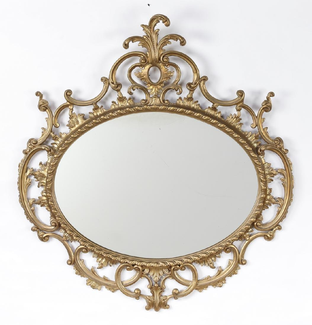 """Rococo Revival style gilt wood mirror, 45""""h"""