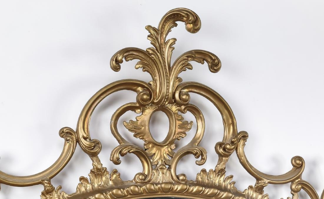 """Rococo Revival style gilt wood mirror, 45""""h - 2"""