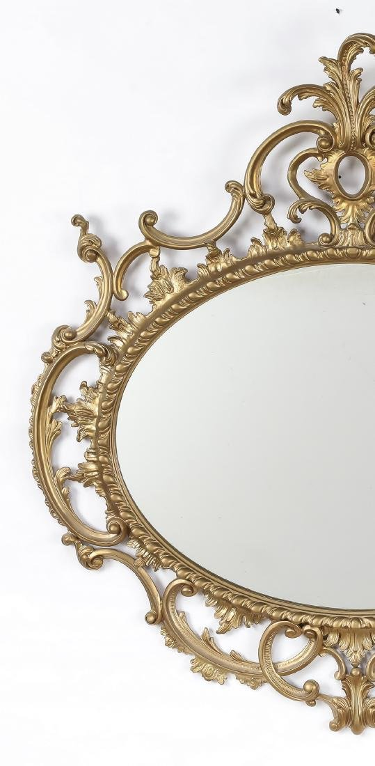 """Rococo Revival style gilt wood mirror, 45""""h - 3"""