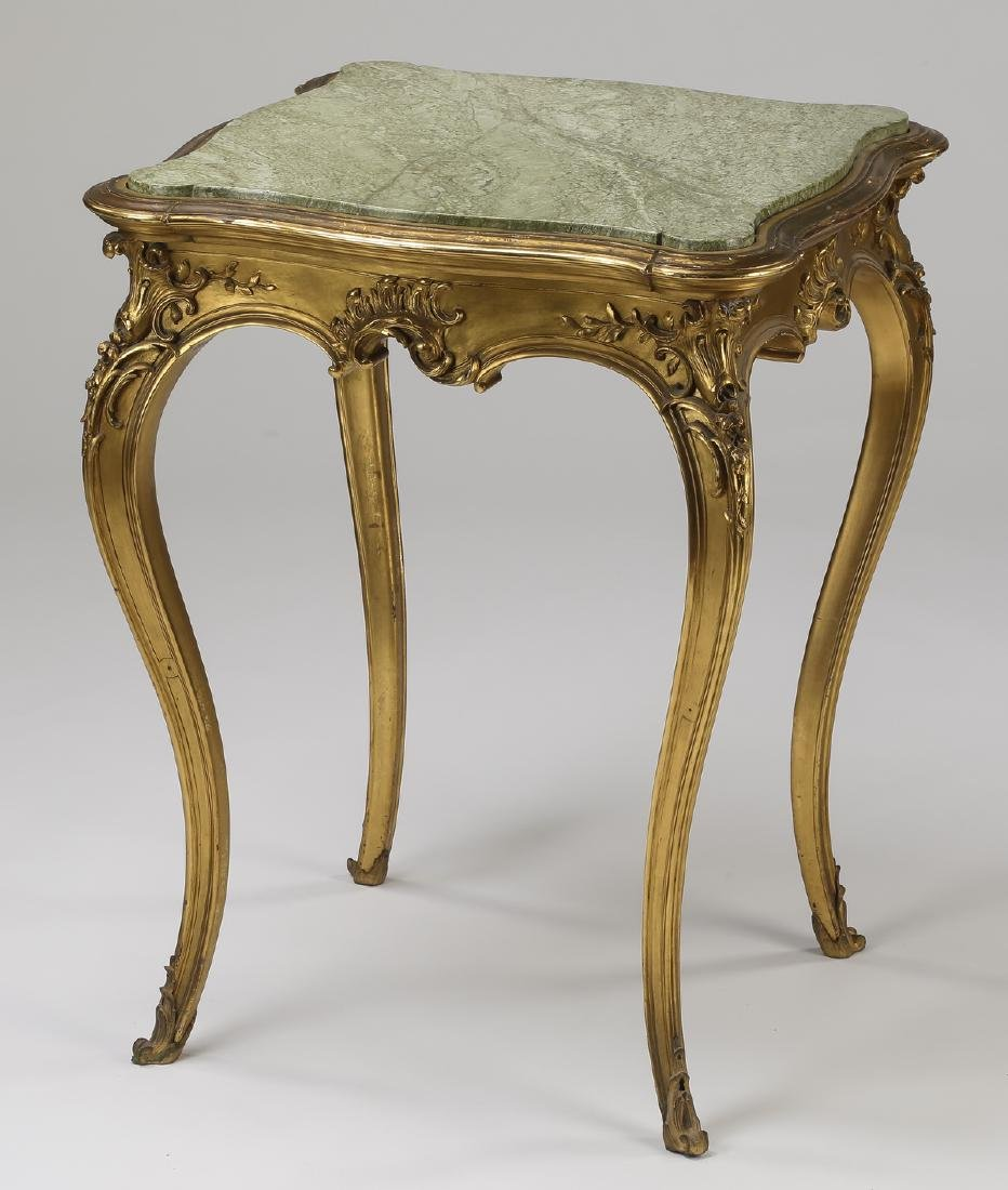 Louis XV style marble top giltwood side table