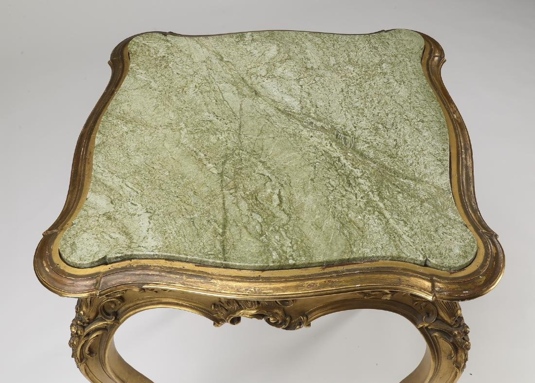 Louis XV style marble top giltwood side table - 2