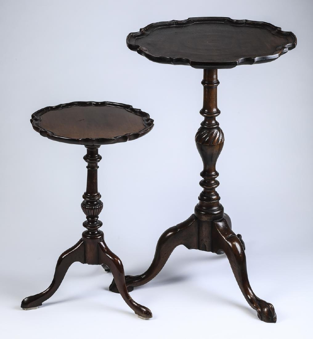 (2) Queen Anne style candle stands w/ scalloped rims