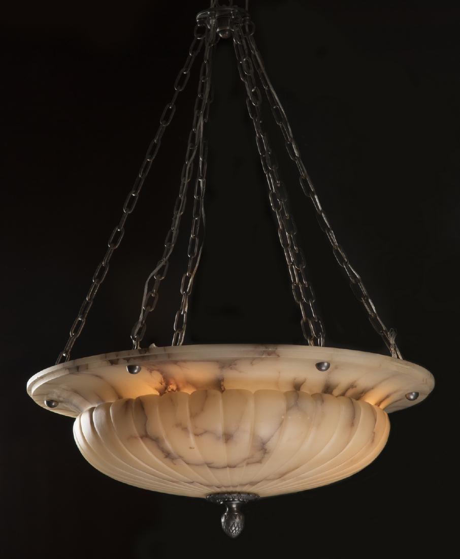 "Spanish alabaster dome shaped chandelier, 48""h"
