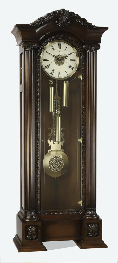 "Howard Miller mahogany grandfather clock, 88""h"