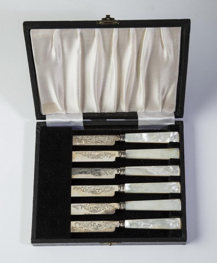 (6) Pcs.Tifft & Whiting coin silver knives, w/ box - 2