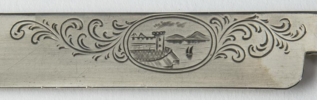 (6) Pcs.Tifft & Whiting coin silver knives, w/ box - 4