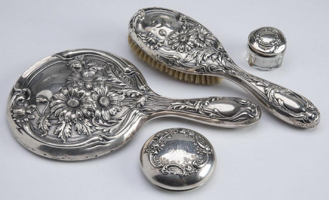 """(4) Art Nouveau sterling vanity accessories, 10""""l"""