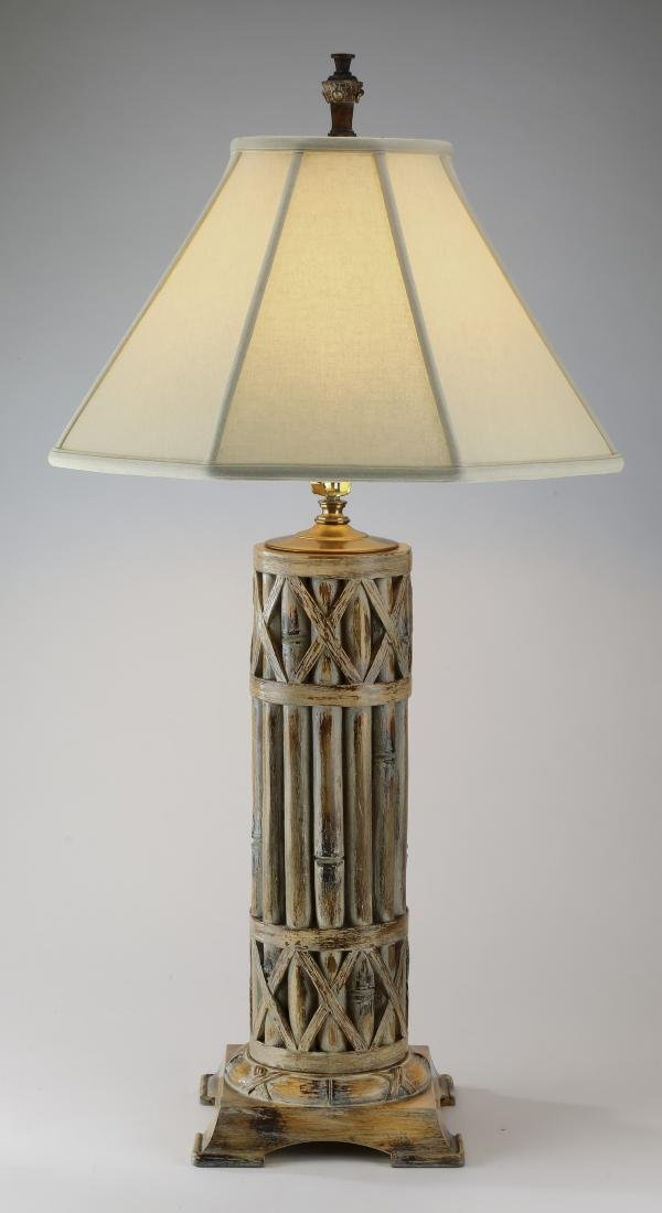 """Faux bamboo table lamp, 37""""h"""