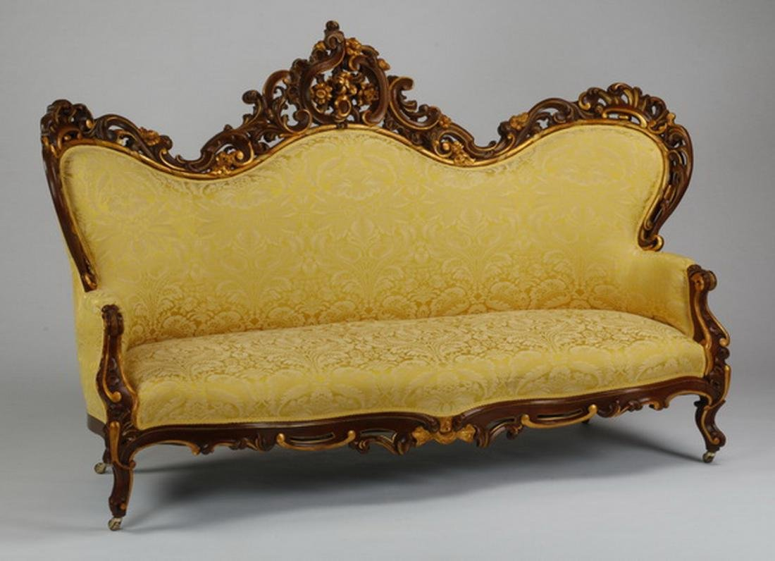 Victorian style parcel gilt mahogany sofa in damask