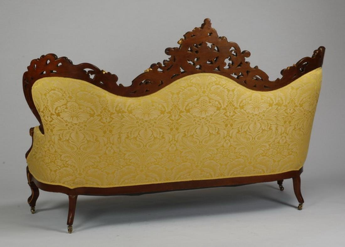 Victorian style parcel gilt mahogany sofa in damask - 2