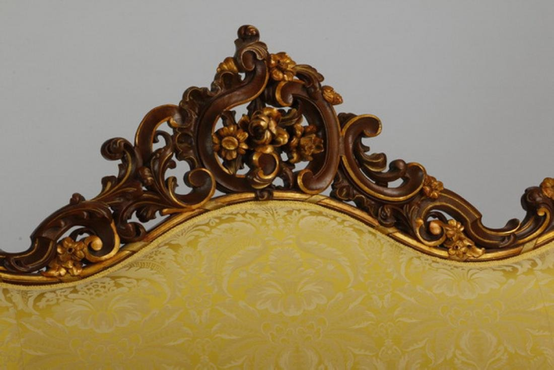 Victorian style parcel gilt mahogany sofa in damask - 3