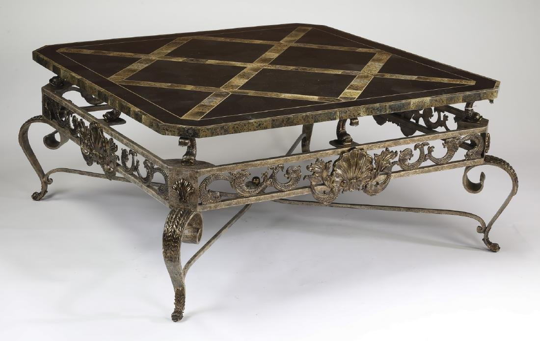 Maitland-Smith marble & wrought iron coffee table