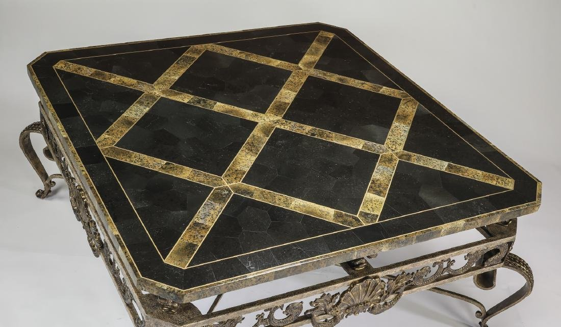 Maitland-Smith marble & wrought iron coffee table - 2