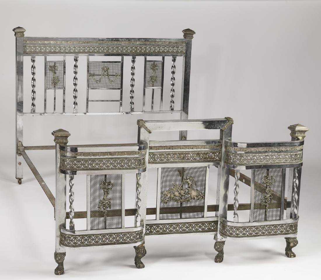 Early 20th c Art Deco nickel plated full size bed