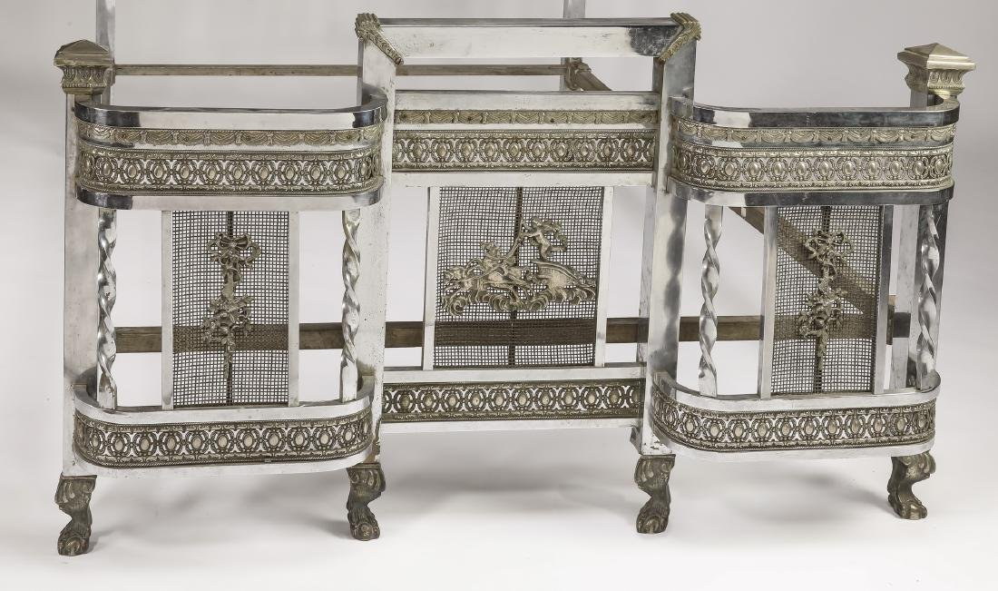 Early 20th c Art Deco nickel plated full size bed - 3