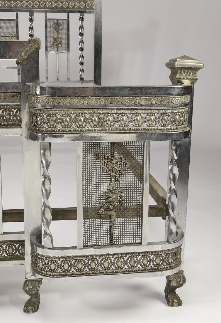 Early 20th c Art Deco nickel plated full size bed - 5