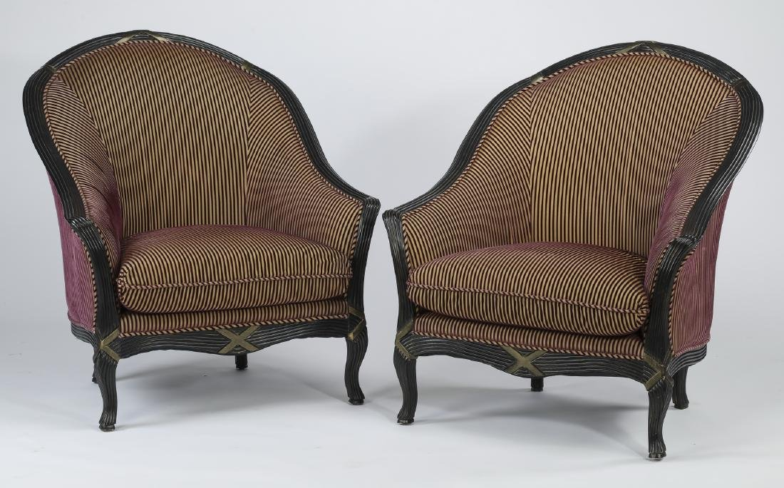 "Pair of Empire style striped tub chairs, 43""h"