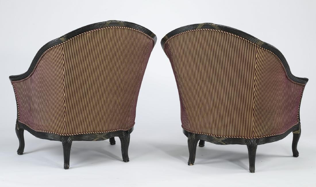 "Pair of Empire style striped tub chairs, 43""h - 2"