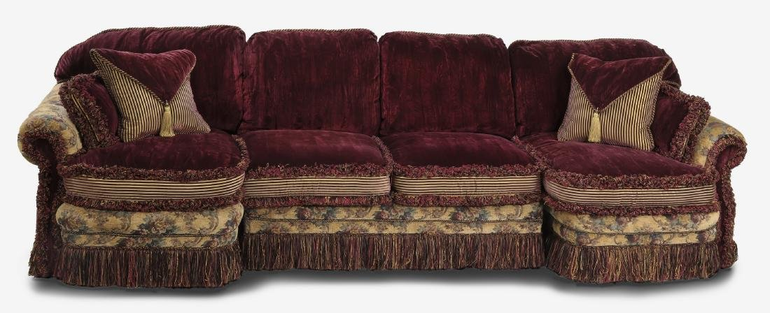 Custom aubergine velvet 3-piece sectional sofa